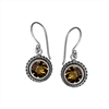 Sterling Silver Faceted Round Citrine Dangle Earrings