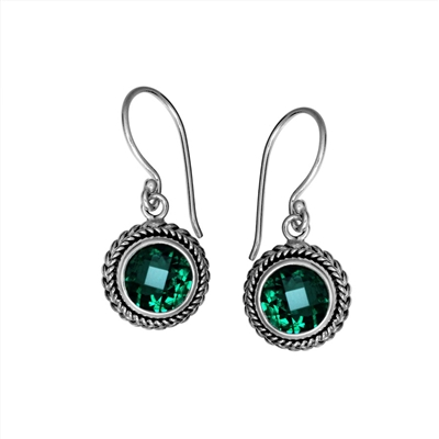 Sterling Silver Faceted Round Green Quartz Dangle Earrings