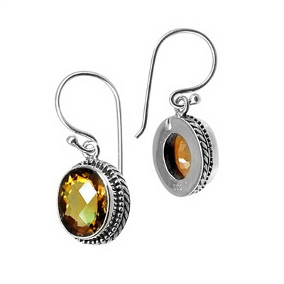 Sterling Silver Faceted Oval Citrine Dangle Earrings