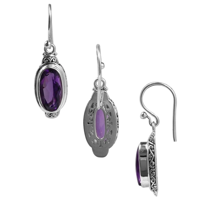 Sterling Silver Faceted Oval Amethyst Dangle Earring