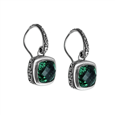 Sterling Silver Faceted Square Green Quartz Dangle Earrings