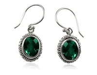 Sterling Silver Faceted Oval Green Quartz Dangle Earrings