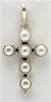 Sterling Silver Freshwater Pearl Cross Pendant