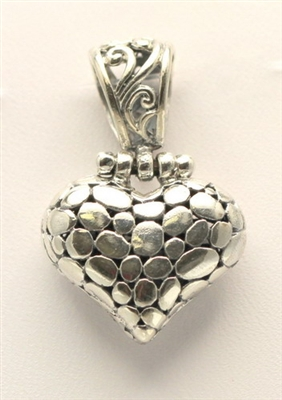 Sterling Silver Pebbled Hinged Heart Pendant