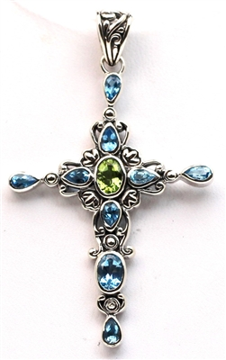 Sterling Silver Blue Topaz and Peridot Cross Pendant