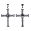 Sterling Silver Twisted Rope Flower Cross Pendant