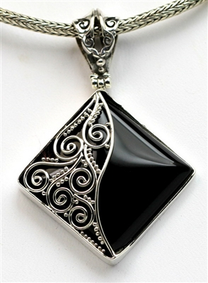 Sterling Silver Scroll Bead Detailing Onyx Pendant