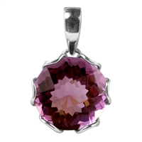 Sterling Silver Round Amethyst Pendant