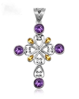Sterling Silver Sterling Silver Amethyst and Citrine Cross Pendant