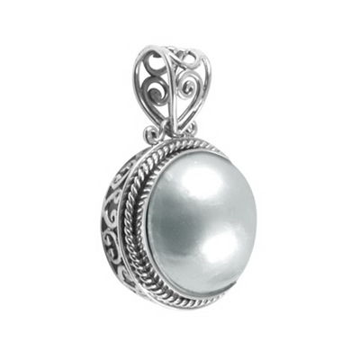 Sterling Silver White Freshwater Pearl Bali Pendant