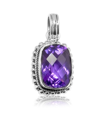Sterling Silver Amethyst Milligrain Necklace