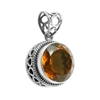 Sterling Silver Round Citrine Pendant