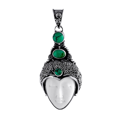 Sterling Silver and Jade Bali Crown Prince Pendant