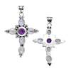 Sterling Silver Amethyst & Moonstone Cross Pendant