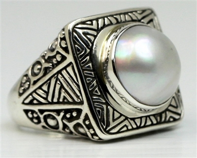 Sterling Silver Detailed Square Mabe Pearl Dome Ring