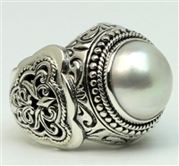 Sterling Silver Filigree Round Mabe Pearl Dome Ring