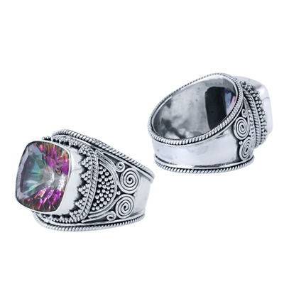 Sterling Silver Square Exotic Fire Quartz Monarch Ring