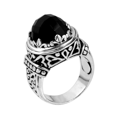 Sterling Silver Faceted Black Onyx Dome Bali Ring