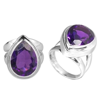 Sterling Silver Faceted Amethyst Almond Drop Ring