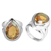 Sterling Silver Faceted Citrine Almond Drop Ring