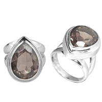 Sterling Silver Faceted Smokey Topaz Almond Drop Ring