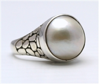 Sterling Silver Crocodile Mabe Pearl Ring