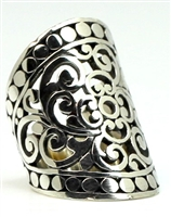 Sterling Silver Wide Cut-out Scroll with Bead Edge Ring