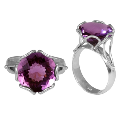 Sterling Silver Faceted Amethyst Ring