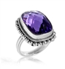 Sterling Silver Amethyst Bead Edge Ring
