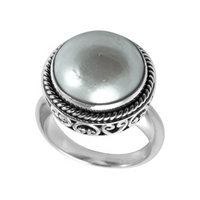 Sterling Silver Mabe Pearl Filigree Ring