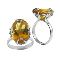 Sterling Silver Citrine Filigree Bali Ring