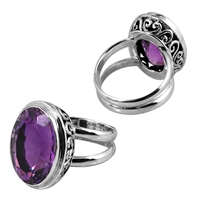 Sterling Silver Faceted Amethyst Filigree Bali Ring