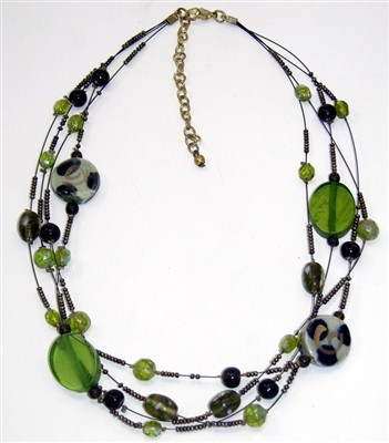 Green Glass Multi-Strand Necklace
