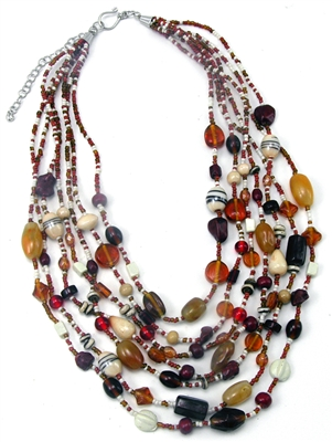 Glass and Agate Pomegranate Necklace