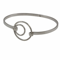 Sterling Silver Textured Circles Bangle Bracelet