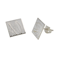 Sterling Silver White Enamel Earrings