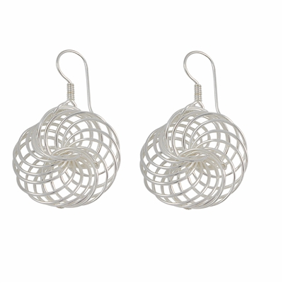Sterling Silver Interlocking Circles Dangle Earrings