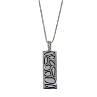 Sterling Silver White Enamel Rectangular Pendant