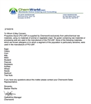 Chemworld PG USP Allergen Statement