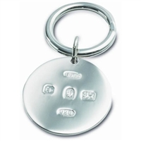 Sterling Silver Round Keyring with Feature hallmark
