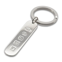 Sterling Silver Keyring, Oblong with Feature Hallmark