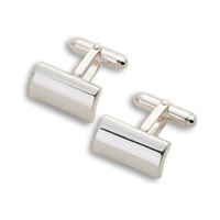 Solid Sterling Silver Cufflinks, Rounded Rectangular Design