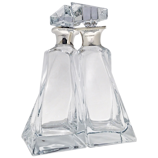 The Lovers Decanters, Fine Crystal and Sterling Silver Spirit Decanters, The perfect Couple!