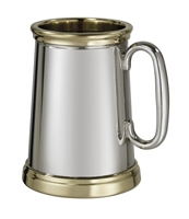 Pewter Wortley Style Pint Tankard with Brass Rim and Base