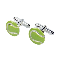 Sterling Silver and Enamel Tennis Ball Cufflinks