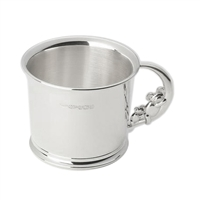 Sterling Silver Christening Cup with a Cute Slumbering Teddybear