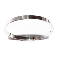 Solid Sterling Silver Adjustable Babys Plain Christening Bangle