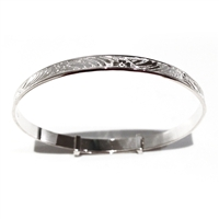 Sterling Silver Adjustable Babys Christening Bangle, Leaf & Flower Design