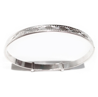 Solid Sterling Silver Adjustable Babys Diamond Cut Design Christening Bangle
