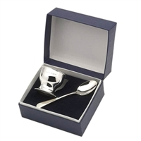 Sterling Silver Egg Cup & Spoon Gift Boxed Set